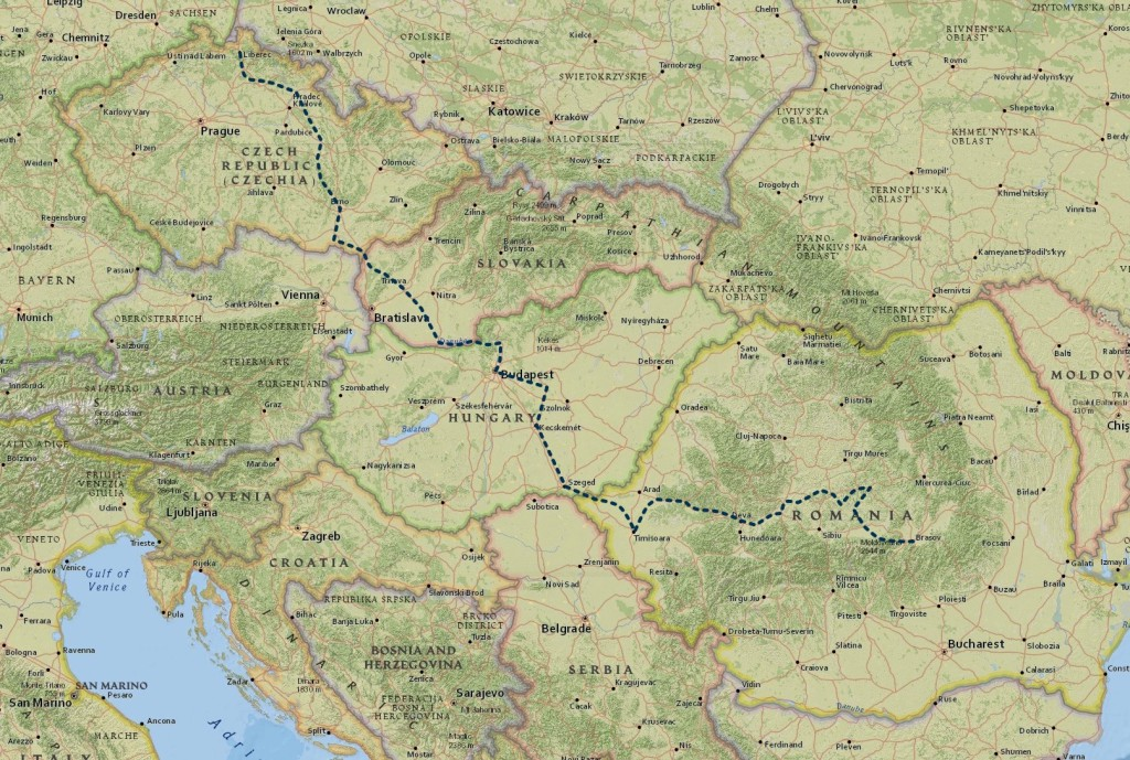 Mapa cesty z Čech do Rumunska na kole